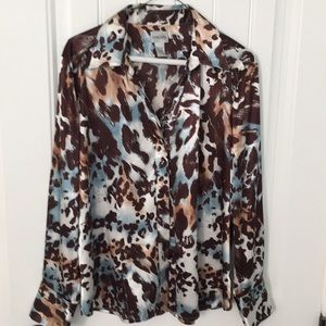Chico's Animal Print Blouse with a touch of blue